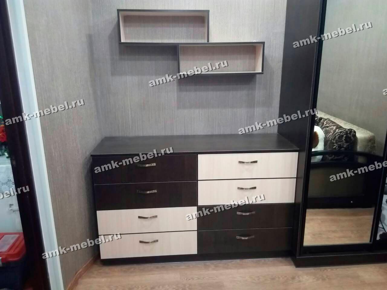 Мебель в юношескую комнату «Комод, Шкаф-купе, навесные полки»